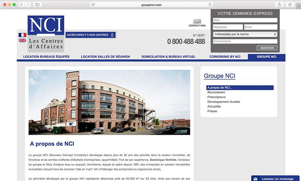 Nouveau site internet Groupe NCI Agence Communication Lille